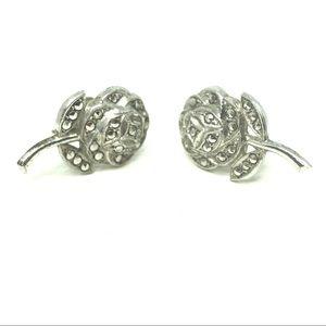 50s Sterling Marcasite Rose Screw Back Earrings